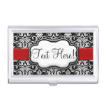 Chic Black/White Damask Red Ribbon Business Card Cases