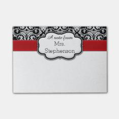 Chic Black/white Damask Red Ribbon Teacher/women's Post-it Notes at Zazzle