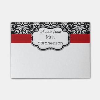 Chic Black/White Damask Red Ribbon Teacher/Women's Post-it Notes
