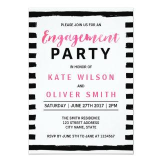 Chic Black & White Engagement Party Invitation