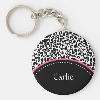 Chic Black White Leopard Print Pink Accent Name Basic Round Button Keychain