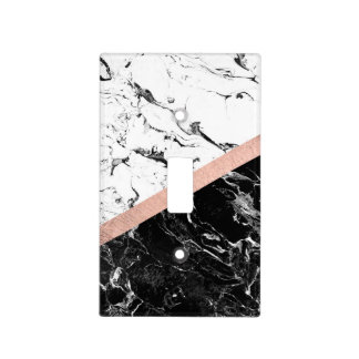 Chic black white marble color block rose gold light switch cover