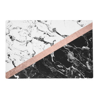 Chic black white marble color block rose gold placemat