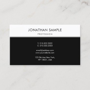 Chic Black White Minimalist Simple BW Modern Plain Business Card