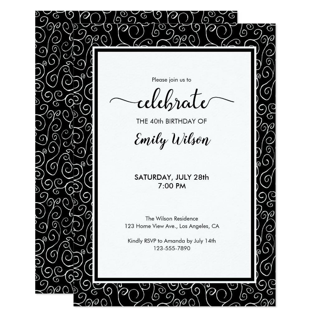 Chic Black White Pattern 40th Birthday Invitation
