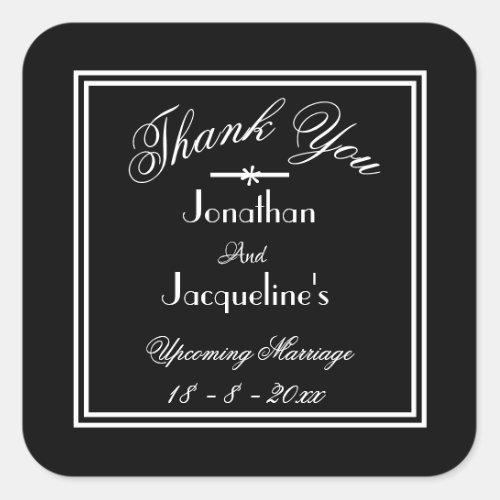 Chic Black  White Personalized Wedding Stickers