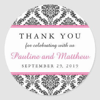 Chic Black & White Pink Damask Wedding Thank You Classic Round Sticker
