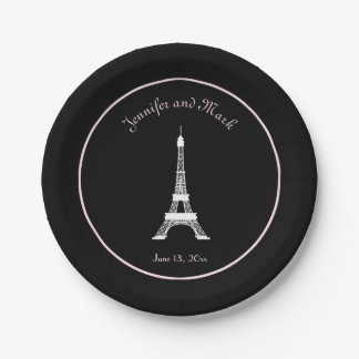 Chic Black White Pink French Eiffel Tower Wedding Paper Plate