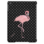 Chic Black & White Polka Dot with Pink Flamingo Cover For iPad Air