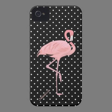 Chic Black & White Polka Dot with Pink Flamingo iPhone 4 Case