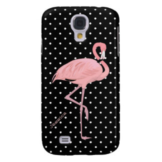 Chic Black & White Polka Dot with Pink Flamingo Galaxy S4 Cover