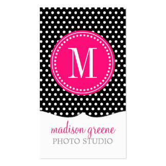 Chic Black White Polka Dots Hot Pink Personalized Business Card