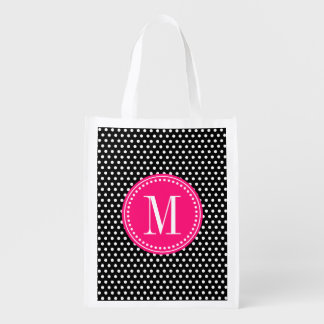 Chic Black White Polka Dots Hot Pink Personalized Reusable Grocery Bags