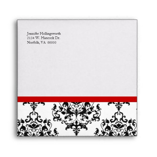Chic Black, White, & Red Special Occasion Envelope