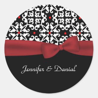 Chic Black, White, & Red Wedding Envelope Seal Classic Round Sticker
