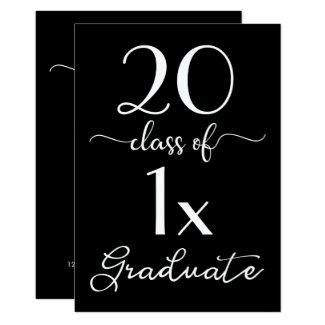 Chic Black & White Script Class Of 2018 Graduation Card