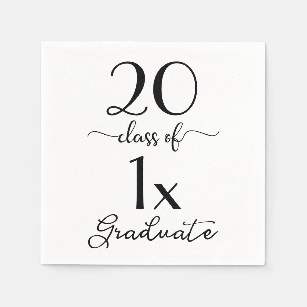 Chic Black & White Script Class Of [YEAR] Graduate Paper Napkin