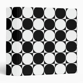 Chic Black White Seventies Circles Squares Pattern Binder