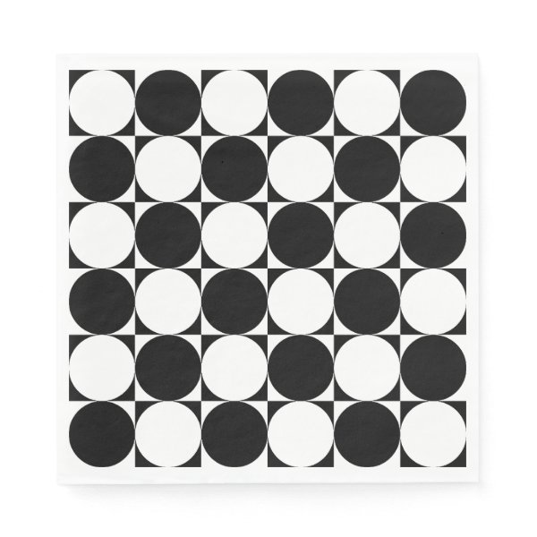 Chic Black White Seventies Circles Squares Pattern Napkin
