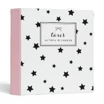 Chic Black & White Stars Pattern Personalized Binder