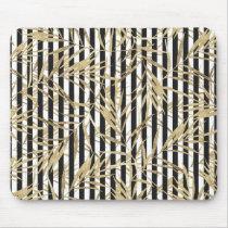 Chic black white stripe faux gold tropical floral mouse pad