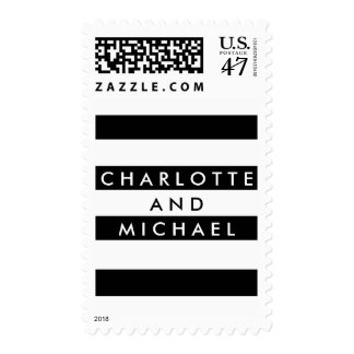 Chic Black | White Stripe Modern Couple Stamp