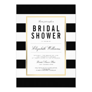 Black and white invitations announcements zazzle chic black white striped gold bridal shower invite stopboris Images