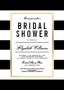 Black and gold bridal shower invitations announcements zazzle chic black white striped gold bridal shower invite filmwisefo