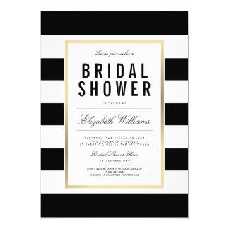 Chic Black White Striped Gold Bridal Shower Invite