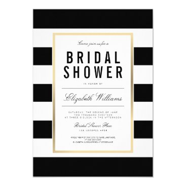 pinkpinetree Chic Black White Striped Gold Bridal Shower Invite