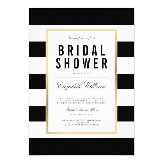 Chic Black White Striped Gold Bridal Shower Invite Zazzlecom