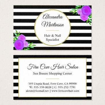 Professional Business Chic Black White Striped Purple Watercolor Floral Business Card