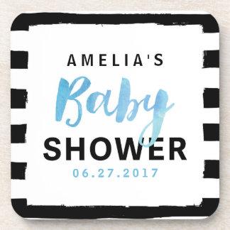 Chic Black & White Stripes Blue Baby Shower Coaster