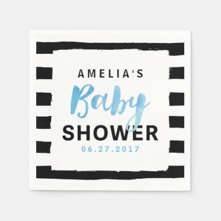 Chic Black & White Stripes Blue Baby Shower Napkin