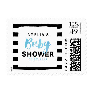 Chic Black & White Stripes Blue Baby Shower Postage