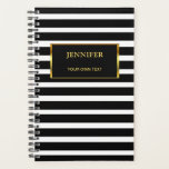 "Chic black &amp; white stripes gold stylish elegant planner<br><div class=""desc"">Chic  black and white stripes pattern with gold and black frame planner.