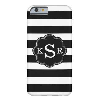 Chic Black & White Stripes Personalized Monogram Barely There iPhone 6 Case