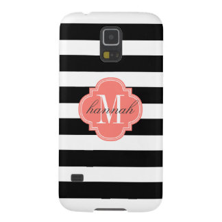 Chic Black & White Stripes Personalized Monogram Case For Galaxy S5
