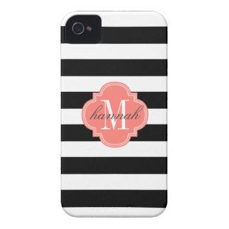 Chic Black & White Stripes Personalized Monogram iPhone 4 Case-Mate Case