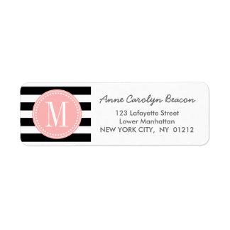 Chic Black & White Stripes Personalized Monogram Return Address Label