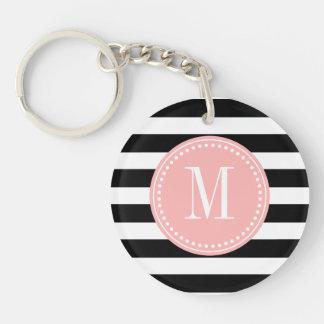 Chic Black & White Stripes Personalized Monogram Single-Sided Round Acrylic Keychain
