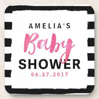 Chic Black & White Stripes Pink Baby Shower Drink Coaster