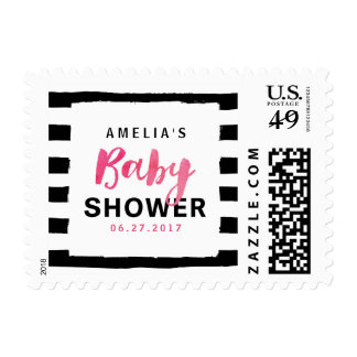 Chic Black & White Stripes Pink Baby Shower Postage