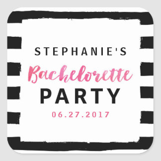 Chic Black & White Stripes Pink Bachelorette Party Square Sticker