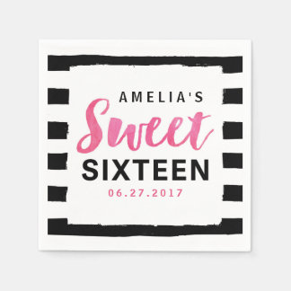 Chic Black & White Stripes Sweet 16 Birthday Paper Napkin