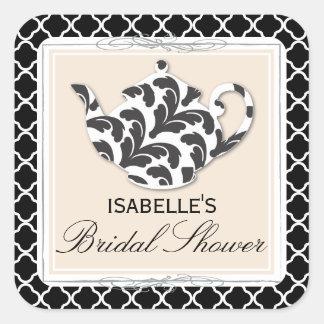 Chic Black White Teapot Bridal Shower Tea Sticker