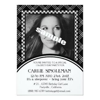 Chic Black White Teen Tween Birthday Party 5.5x7.5 Paper Invitation Card