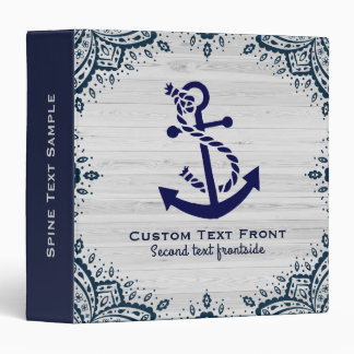 Chic Bleached Wood & Navy-Blue Boat Anchor 3 Ring Binder