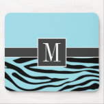 Chic Blizzard Blue Zebra Animal Print Mouse Pad