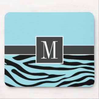 Chic Blizzard Blue Zebra Animal Print Mouse Pad